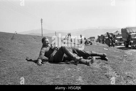 German soldiers relaxing in the Ardennes region France during World War Two - Stock Photo