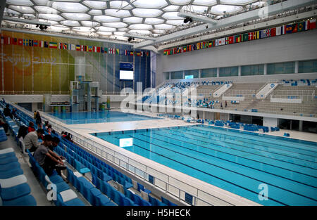 The pool in the Beijing National Aquatics Center, built and designed for the 2008 Beijing Olympics by a consortium. - Stock Photo