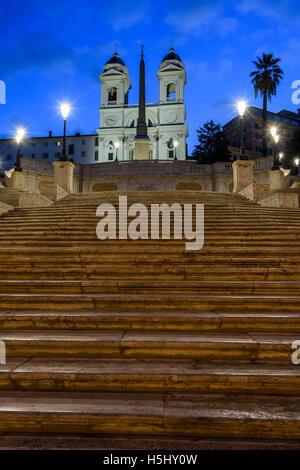 Night view of Spanish Steps, Piazza di Spagna, Rome, Lazio, Italy - Stock Photo
