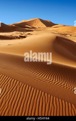 Sahara sand dunes of erg Chebbi, Merzouga Morocco, Africa - Stock Photo