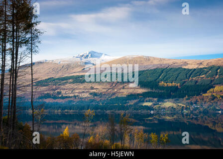 A landscape image looking north across Loch Tay towards Ben Lawers, Scotland. - Stock Photo