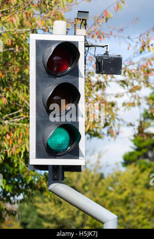 Traffic lights with camera at a pedestrian crossing in the UK. - Stock Photo