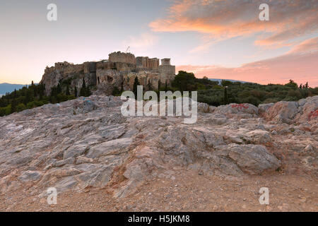 View of Acropolis from Areopagus hill, Athens. - Stock Photo
