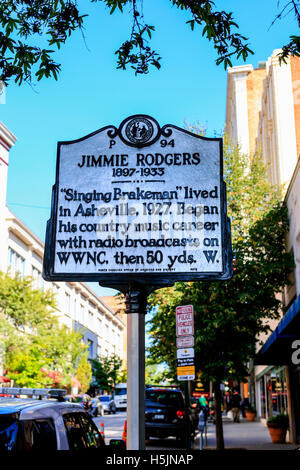 History plaque dedicated to Jimmie Rodgers, seen on Haywood Street in Asheville NC - Stock Photo