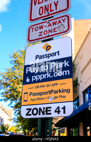 Passport Pay to Park sign on Haywood Street in downtown Asheville NC - Stock Photo