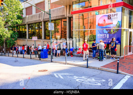 People outside the US Cellular Center at 87 Haywood Street in downtown Asheville NC - Stock Photo