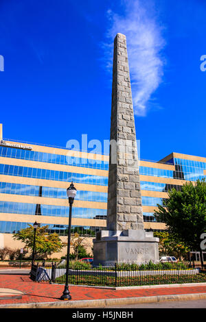The Zebulon Baird Vance Memorial situated in N. Pack Square in downtown Asheville NC - Stock Photo
