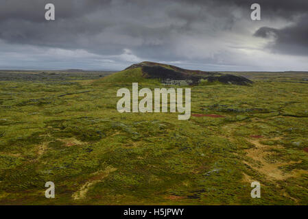 Moss covered volcano on the Snaefellsnes Peninsula, Iceland - Stock Photo