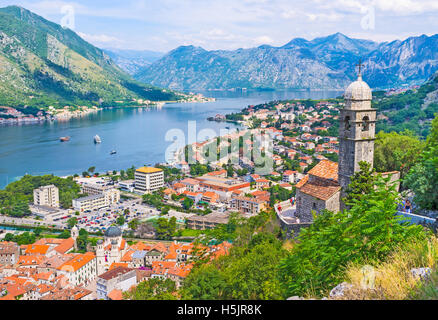 The Kotor bay is one of the most beautiful places in Montenegro, it boasts the preserved Venetian fortress, old - Stock Photo