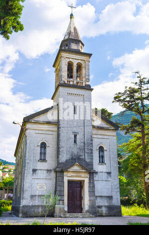The Church of St Mary of the Snow located in the small town Skaljari that is the part of the Municipality of Kotor, - Stock Photo