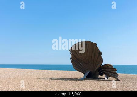 Scallop sculpture on beach Aldeburgh Suffolk UK - Stock Photo
