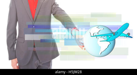 Young businessman with airplane and globe on white background - Stock Photo