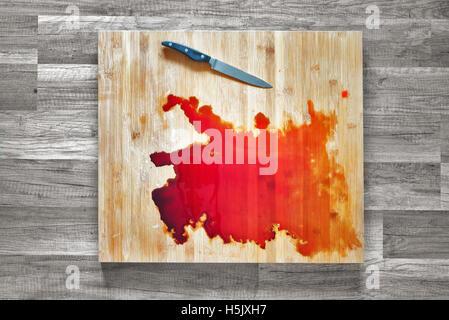 Grunge Of Blood On Wood Floor Halloween Bloody Murder Or