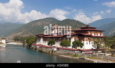 Punakha Dzong, Bhutan, South Asia - Stock Photo