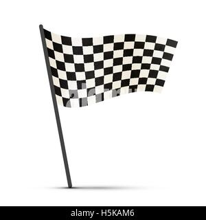Finish flag on a pole with shadow - Stock Photo
