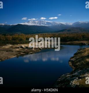 New Castille Spain Sierra De Guadarrama River & Mountains - Stock Photo