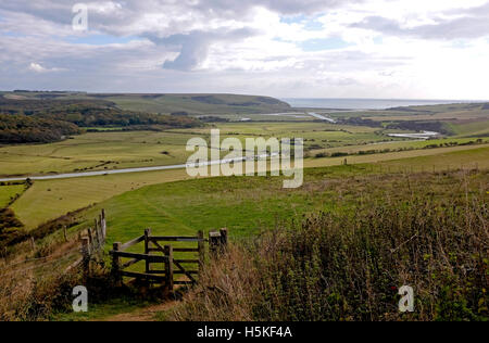 Cuckmere Haven lies on the coast and is an area of flood plains where the South Downs meets the sea in East Sussex - Stock Photo