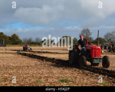 Competitors at Ashover Ploughing Match, held at Highoredish Farm, Derbyshire. - Stock Photo