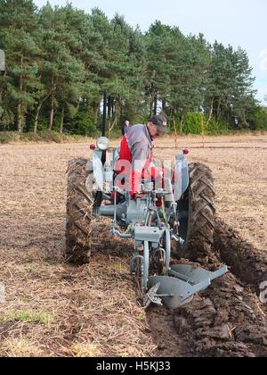 Farmer inspecting furrow at Ashover Ploughing Match, held at Highoredish Farm, Derbyshire. - Stock Photo