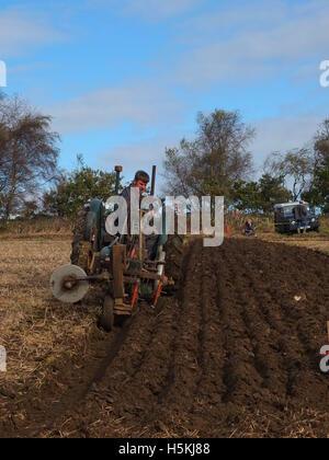 Farmer inspecting his ploughing at Ashover Ploughing Match, Highoredish Farm, Derbyshire - Stock Photo