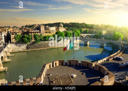 View on Tiber and Rome from the Castle of Angels, Italy - Stock Photo
