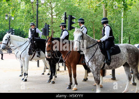 London, UK - July 15, 2016 - Mounted Police officers patrol on London streets - Stock Photo