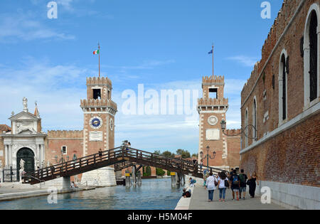 Venetian Arsenal and Naval Museum in Castello district of Venice in Italy. - Stock Photo