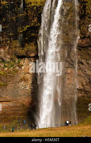 Seljalandsfoss waterfall, South Iceland, North Atlantic, Europe - Stock Photo