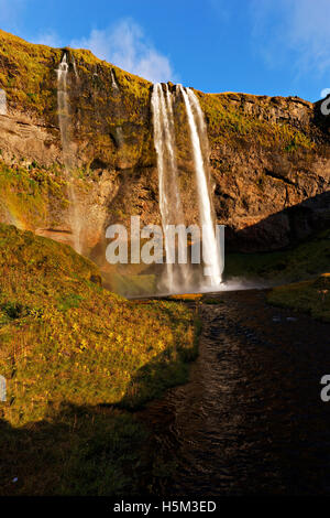 Seljalandsfoss waterfall, South Iceland, North Atlantic, Europe - Stock Photo