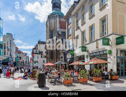 Restaurant and shops near the Church of Notre Dame du Finistere, Rue Neuve (Nieuwstraat) in the city centre, Brussels, - Stock Photo