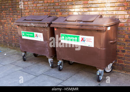 Food waste brown recycling bins in Camden, London, UK - Stock Photo