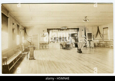 A real-photo postcard showing the interior of what appears to be a meeting hall.  Likely the inside of the Megunticook - Stock Photo