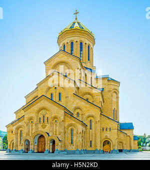 The Holy Trinity (Sameba) Cathedral, is the main cathedral of Tbilisi and one of its notable landmarks, Georgia. - Stock Photo