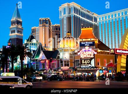 The Las Vegas strip Skyline at twilight - Stock Photo