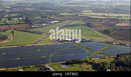 aerial view of Turweston Aerodrome and solar farm, Oxfordshire, UK - Stock Photo