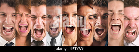 Banner people screaming - Stock Photo