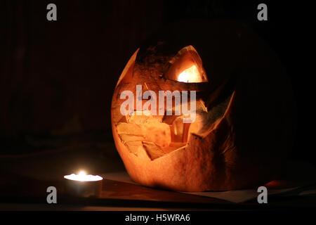 pumpkin halloween dark - Stock Photo