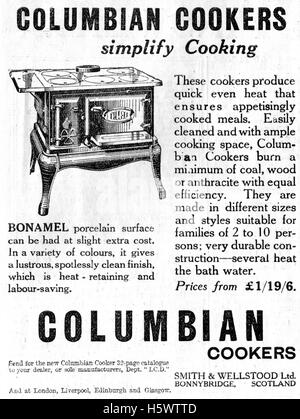 Vintage advertisement for a cast iron Columbian wood fired stove or cooker dated December 20th 1935  in the Illustrated - Stock Photo