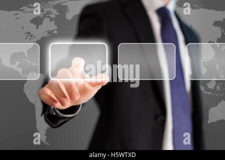 Businessman touch screen stock exchange - Stock Photo