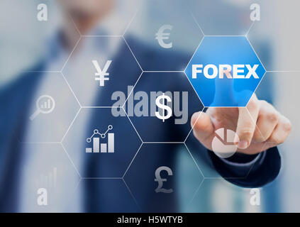 Concept about forex currency exchange on digital screen with trader in the background - Stock Photo