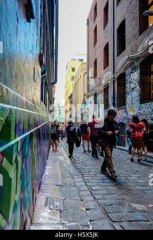 Graffiti and street art in Hosier Lane, Melbourne, Australia - Stock Photo