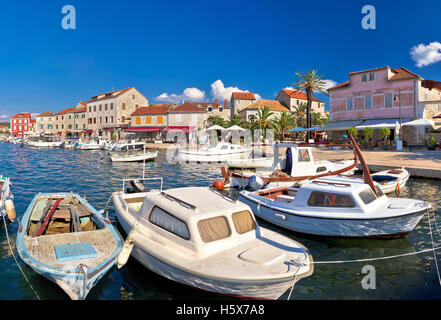 Stari Grad waterfront summer view panorama, island of Hvar, Croatia - Stock Photo