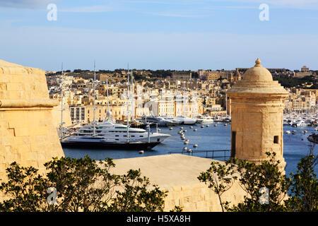 View over Grand Harbour towards Vittoriosa, Valletta, Malta - Stock Photo