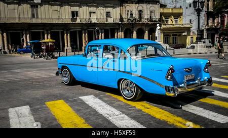 Blue classic car Havana Cuba - Stock Photo
