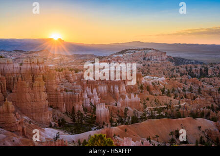 Sunrise, scenic views, Bryce Canyon National Park, located Utah, in the Southwestern United States. - Stock Photo