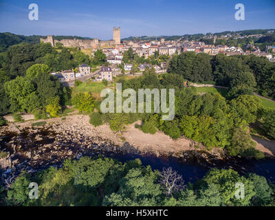 Richmond North Yorkshire aerial scene showing River Swale, Castle, Town,  and Market Place - Stock Photo