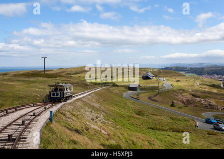 The Great Orme Tram heading towards the summit station - Stock Photo