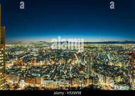 Snowy Tokyo and Mt.Fuji, view from Shinjuku, Tokyo,Japan - Stock Photo