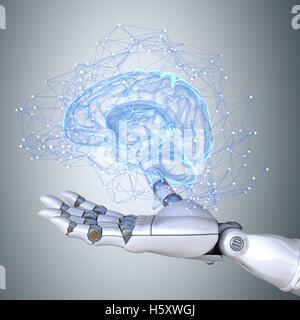 Robot hand holding virtual brain scheme