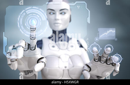 Robot working with Sci-Fi interface - Stock Photo